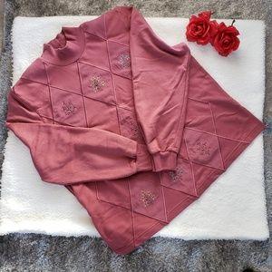 ALFRED DUNNER diamonds spliced knit top vintage PL